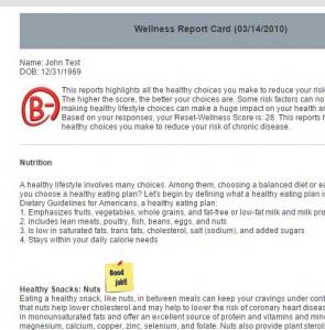 Wellness Report Card
